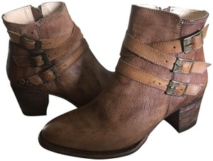 Bed Stü Leather Ankle Side Zip Tan Rustic Boots