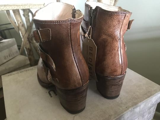 Bed|Stü Leather Ankle Side Zip Tan Rustic Boots Image 1