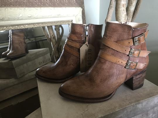 Bed|Stü Leather Ankle Side Zip Tan Rustic Boots Image 4