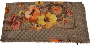 Gucci NEW Gucci Women's 508797 Large Wool Orange Pansie BLOOMS GG Scarf