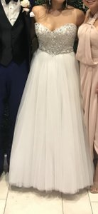 Maggie Sottero Ivory/Silver Tulle Esme Formal Wedding Dress Size 10 (M)