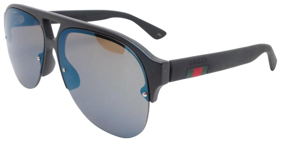 70c0e41e332 Gucci Black Gg0170s 002 W Blue Green Mirror Lens New Sunglasses ...