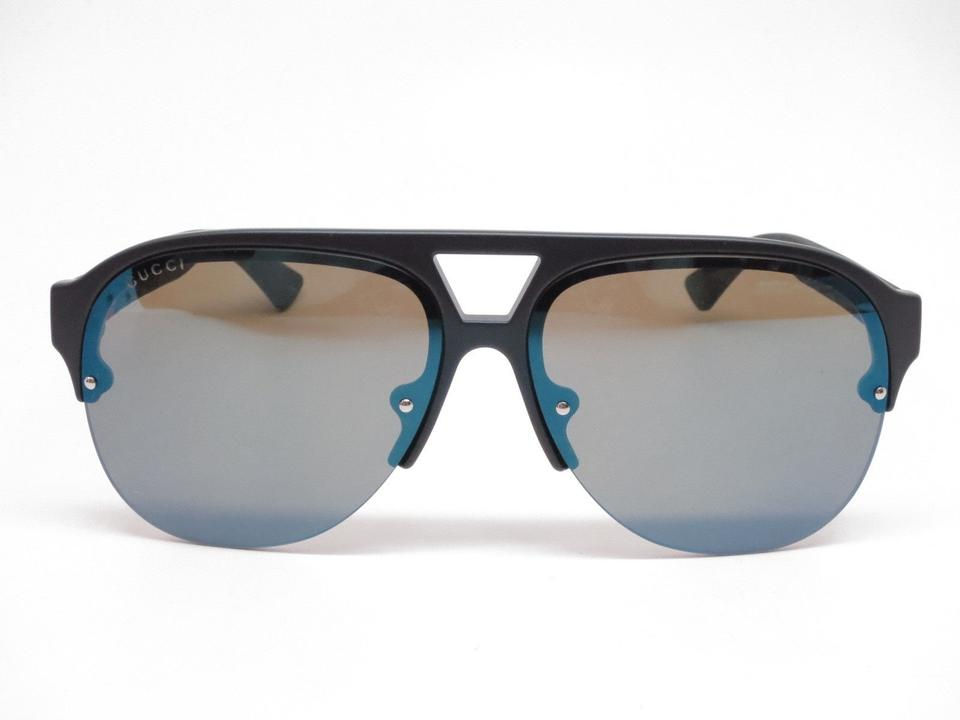 ca0da687844 Gucci Gucci GG0170S 002 Black w Blue Green Mirror Lens Sunglasses NEW!  Image 6. 1234567