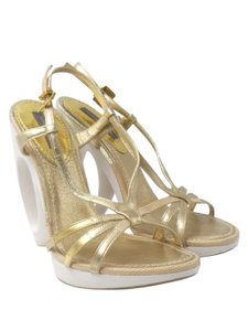Louis Vuitton Snakeskin Leather Strappy Slingback Gold Sandals