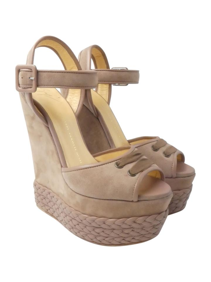 cf763ad32a97b Giuseppe Zanotti Taupe Suede Ankle Strap 8 Braided Platform Wedges ...