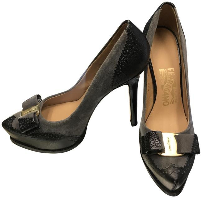 Item - Gray/ Black Black/Grayleather Bow Accent Peep Toe Pumps Size US 5.5 Narrow (Aa, N)