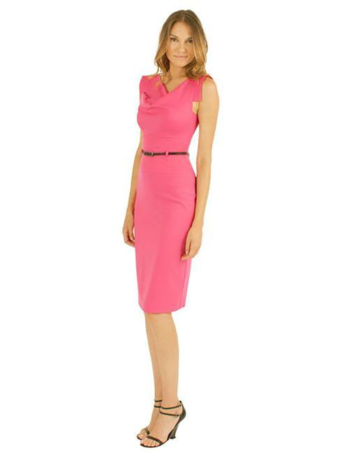 Item - Pink/Coral Women's Pebble Crepe Jackie O Mid-length Cocktail Dress Size 2 (XS)