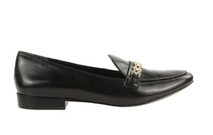 Tory Burch Loafer Leather Work Black Flats