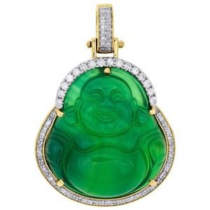 Jewelry For Less 10K Yellow Gold 3D Buddha Synthetic Jade Diamond Pendant Charm 0.61 CT