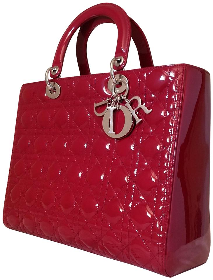 6a491f110dbb Dior Lady Dior Large Purse Red Patent Leather Tote - Tradesy
