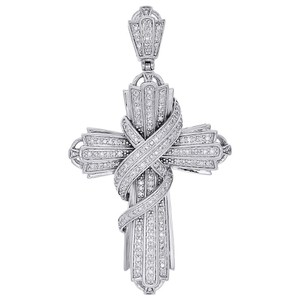 Jewelry For Less 10K White Gold Diamond Swirl Curtain Cross Pendant Pave Charm 0.60 Ct.