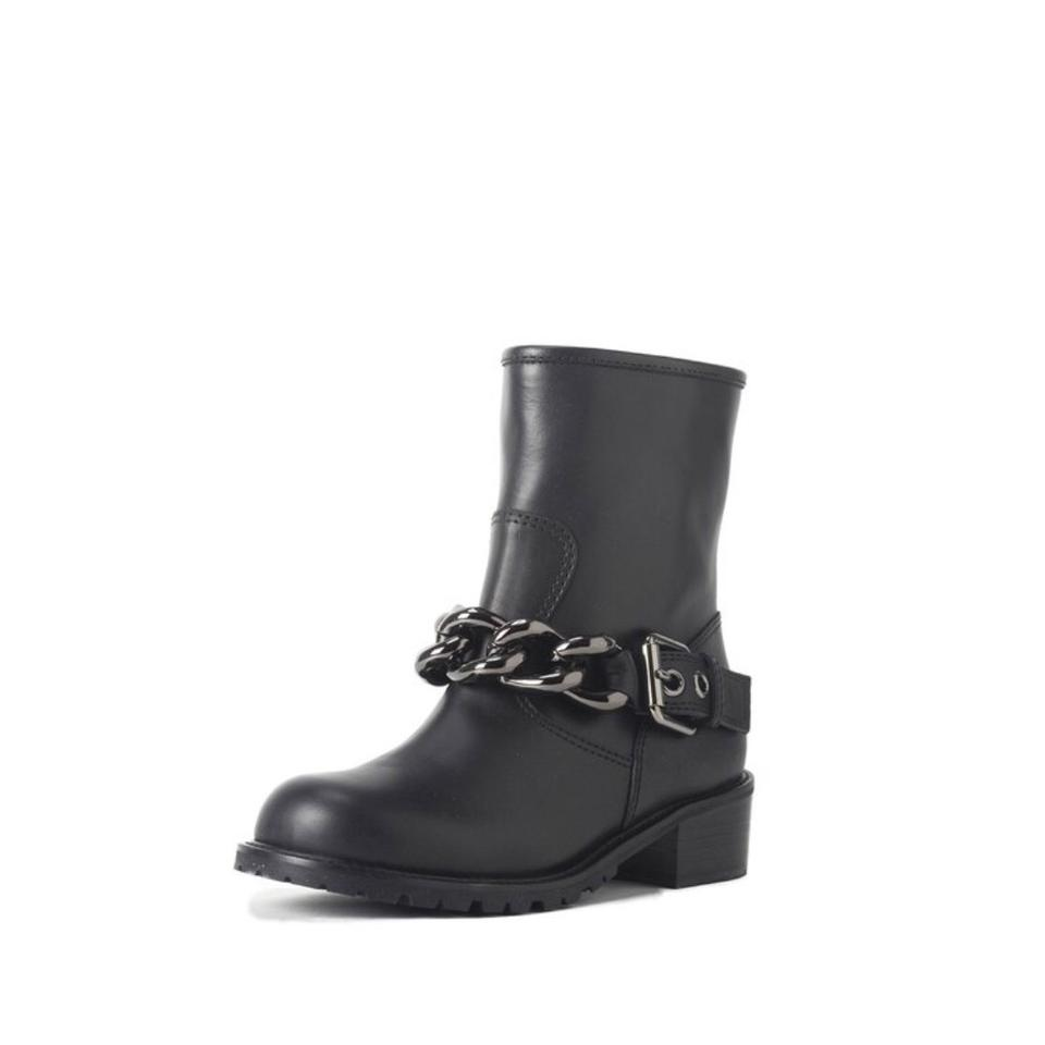 Giuseppe Leather Zanotti Black Moto-chain Detail Leather Giuseppe Boots/Booties 87d85b