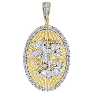 Jewelry For Less 10K Yellow Gold Diamond Saint George Slaying Dragon Pendant Oval Charm