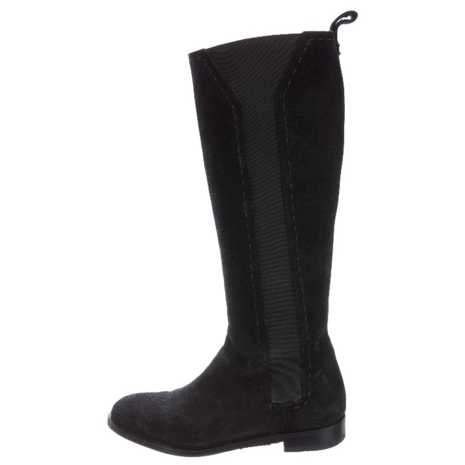 Saint Laurent Black Ysl Riding Suede Knee High Stretch Riding Ysl 36 Boots/Booties 465839