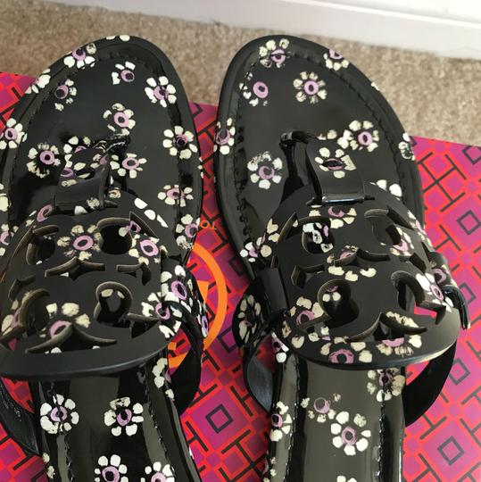 40916d0d8 Tory Burch Black Stamped Floral 8.5m Miller Printed Patent Sandals ...