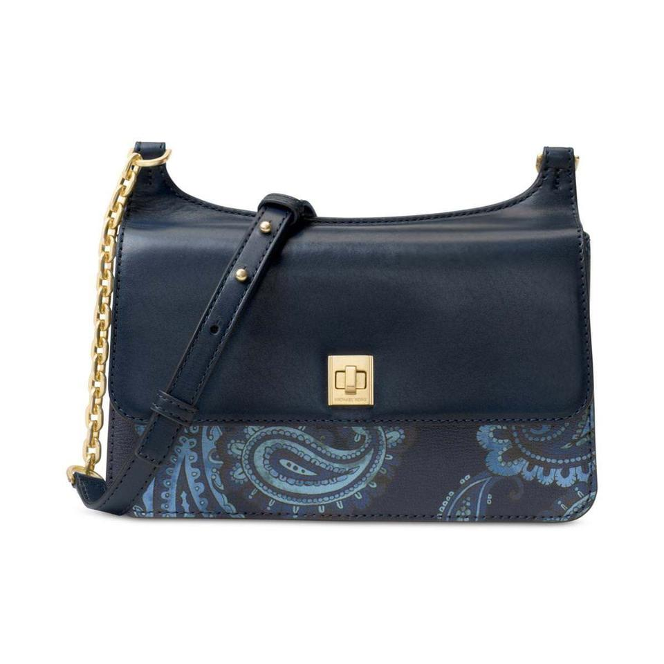 e0c2faa9ad91 Michael Kors Studio Paisley Natalie Heritage Medium Chain Crossbody Admiral  Blue Leather Messenger Bag