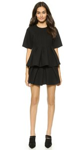 Alexander Wang Neoprene Pleated Peplum Top Black