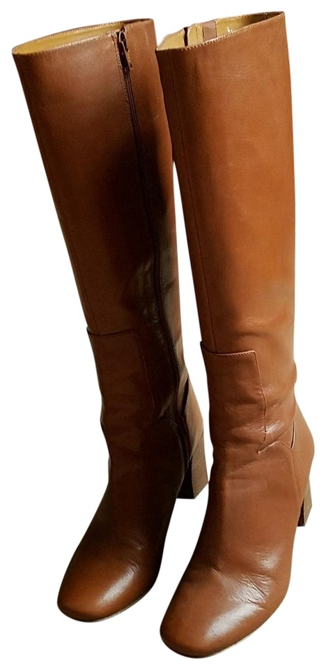 6338db76f5d1 Nine West Camel Leather Upper with Stacked 3 Inch Heel Boots Booties ...