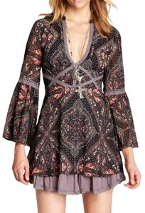 Free People short dress Longsleeve Paisley Print A-line Lace Trim on Tradesy