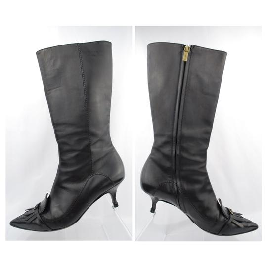 Burberry Nero Donna Kitten Heel Kiltie Pointed Toe Knee  High  Knee  f86f0f