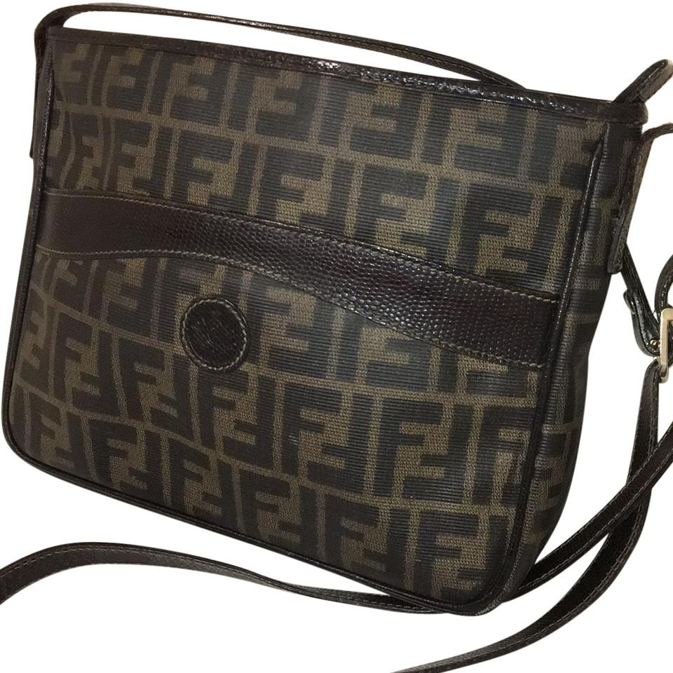 fde89d0fe261 Fendi Zucca Vintage Brown and Black Leather Coated Canvas Cross Body ...