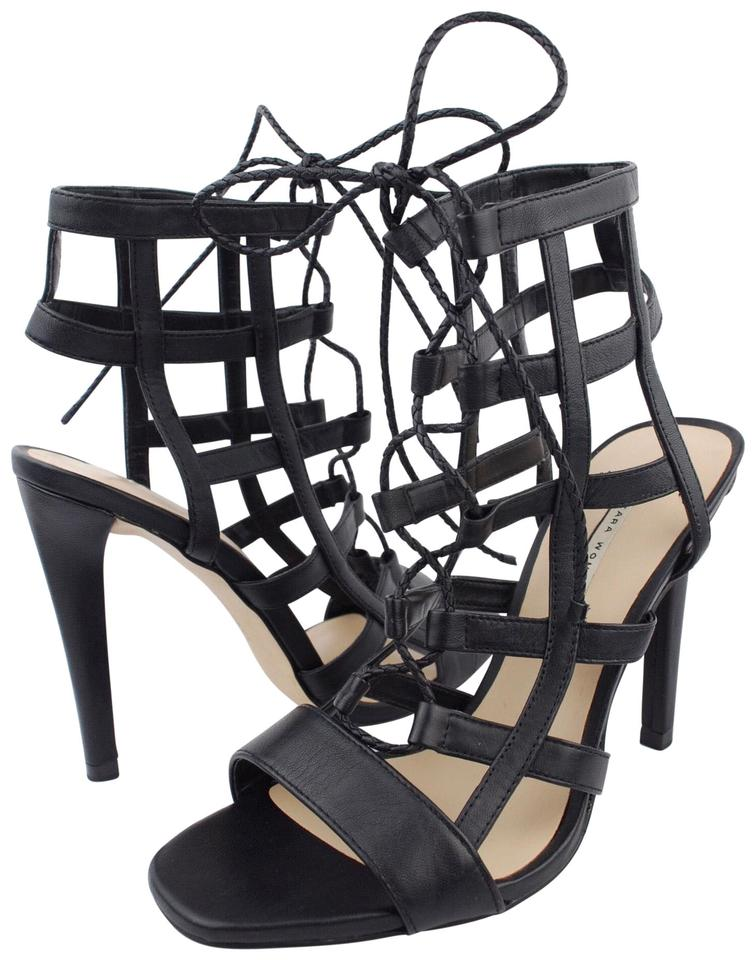 7231e512593 Zara Black Women s Strappy Stiletto High Heel Lace Up Booties Pumps ...