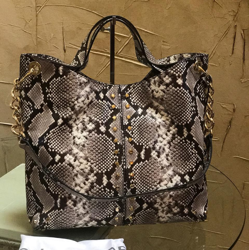 da1a5d640a Michael Kors Astor Studded Python Embossed Tote. Natural Leather ...