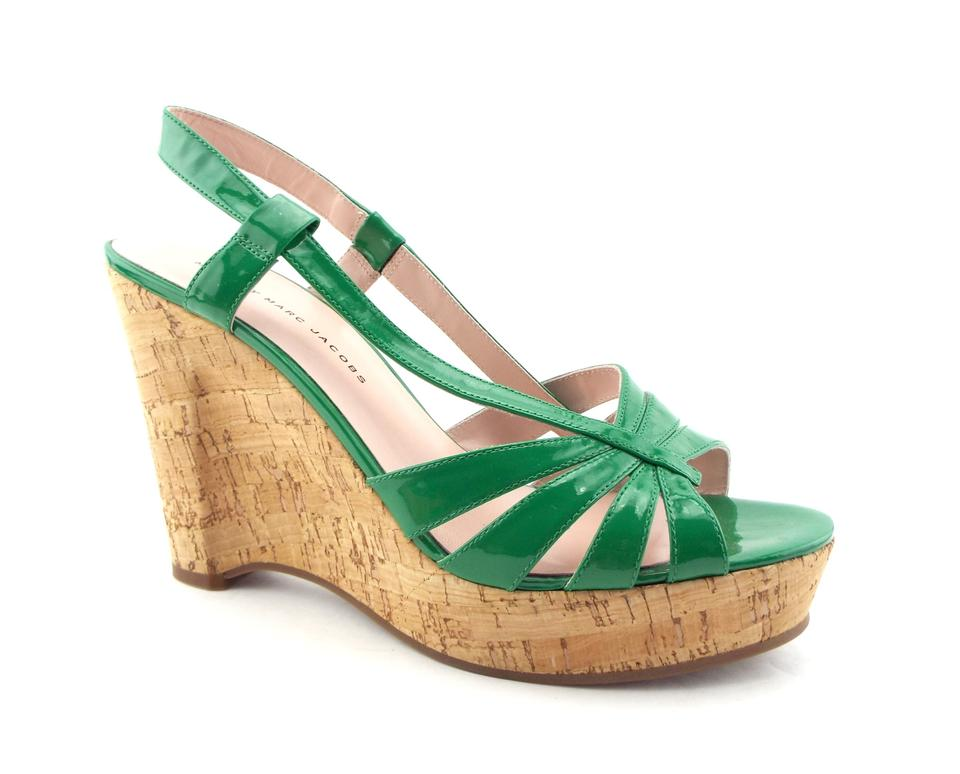Marc by Marc Jacobs Wedge Emerald Patent Leather Cork Wedge Jacobs Sandals 6f73a9