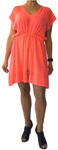 Milly of New York Knit Toggle Tie Orange Coral Dress