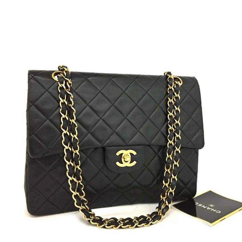 ead7d115cd6eba Chanel Classic Double Flap 25 Quilted Cc Logo W/Chain Black 5818 ...