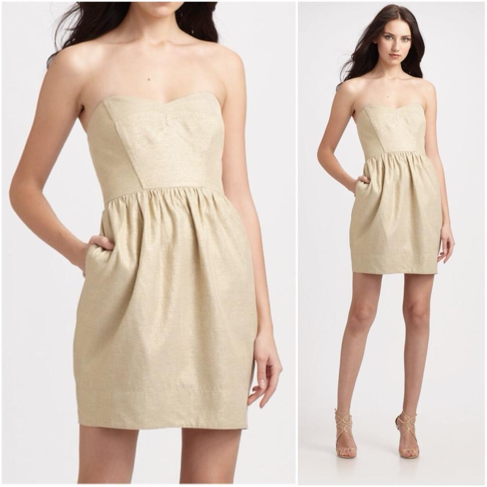 Shoshanna Gold Strapless Tulip Short Cocktail Dress Size 2 (XS ...