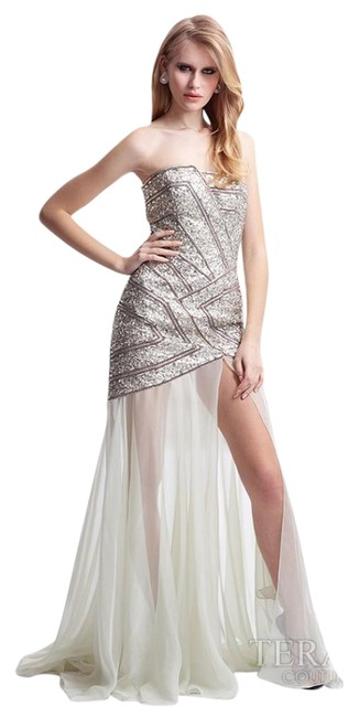 Item - Silver Jazzy Geometric Formal with Strapless -- Gl1807 Long Night Out Dress Size 2 (XS)