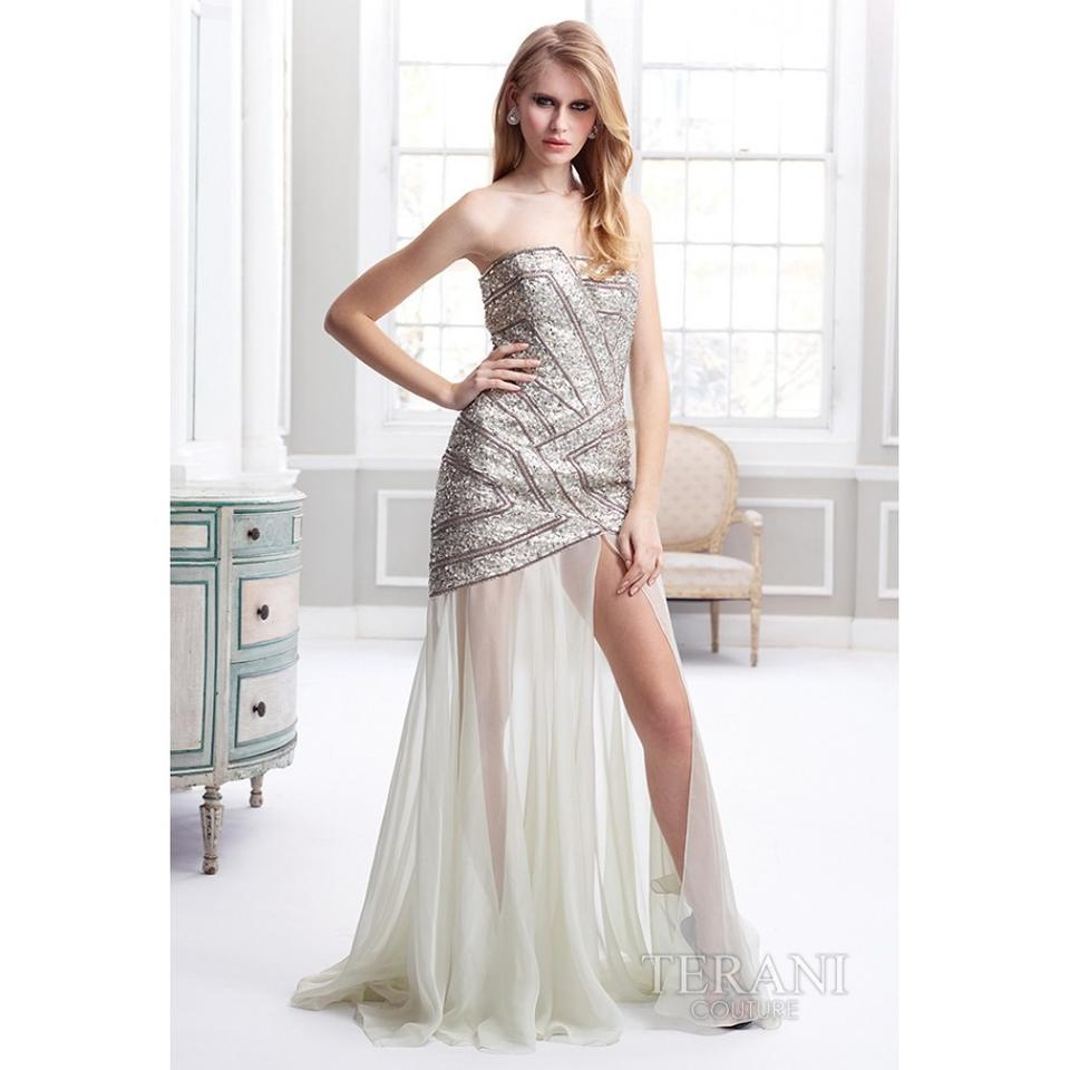 1b533da8ec018 Terani Couture Silver Jazzy Geometric Formal with Strapless -- Gl1807 Night  Out Dress