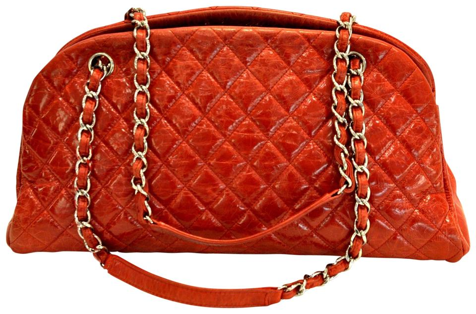 480982e62197ee Chanel Mademoiselle Aged Calfskin Medium Just Bowling Red Leather ...