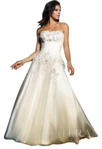 Terani Couture Wedding Strapless Ball Gown Prom Dress
