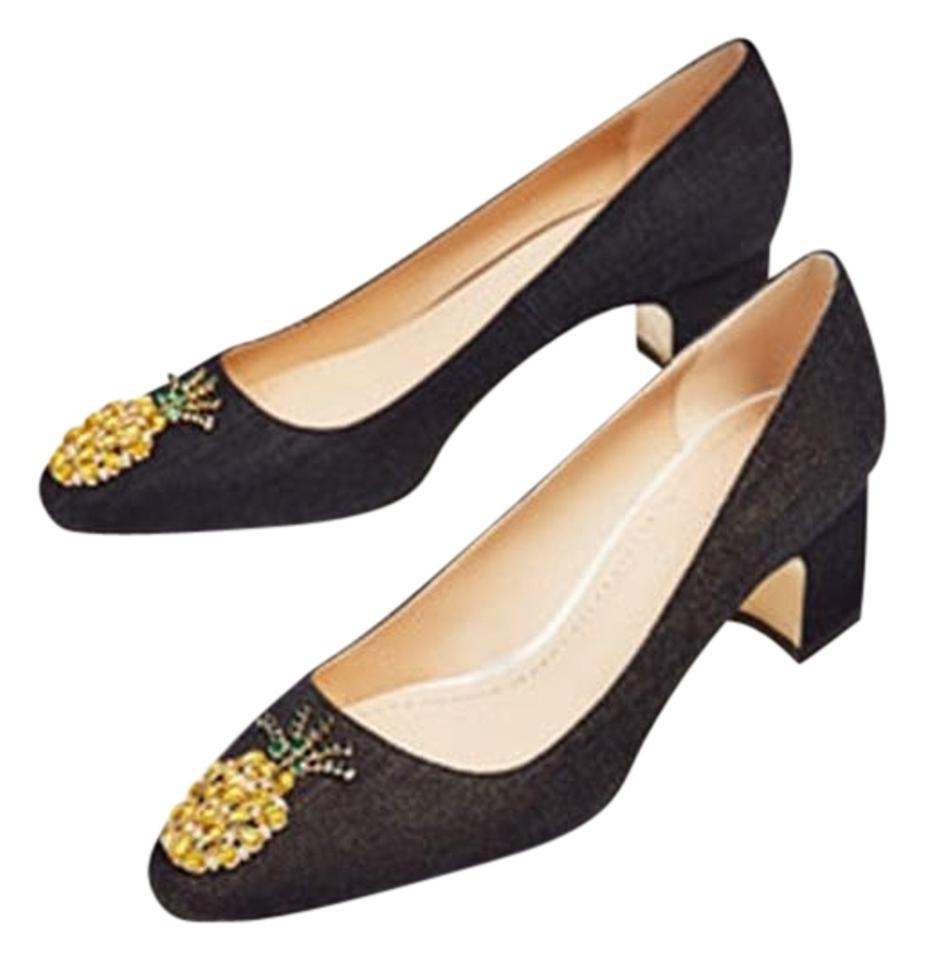 04b17ddda0157e Zara Black With Pineapple Jeweled Detail New Denim Pumps Size US 6.5 ...