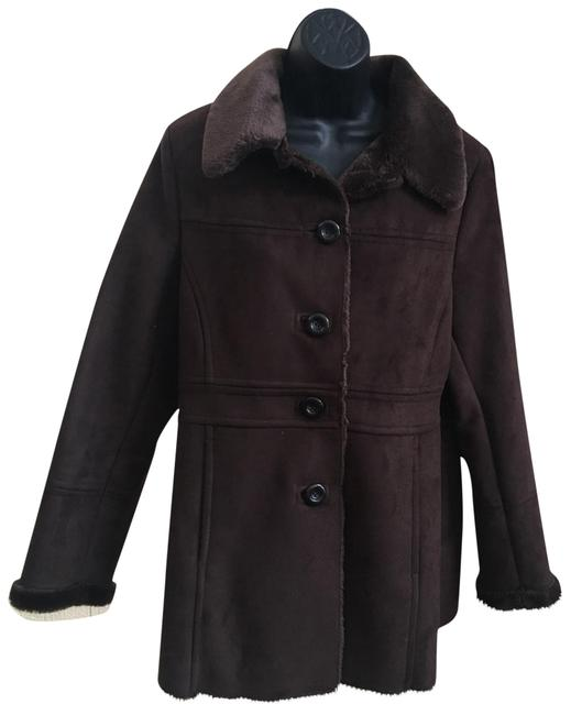 Item - Brown Suede (Faux) with Faux Fur Lining and Trim Coat Size 10 (M)