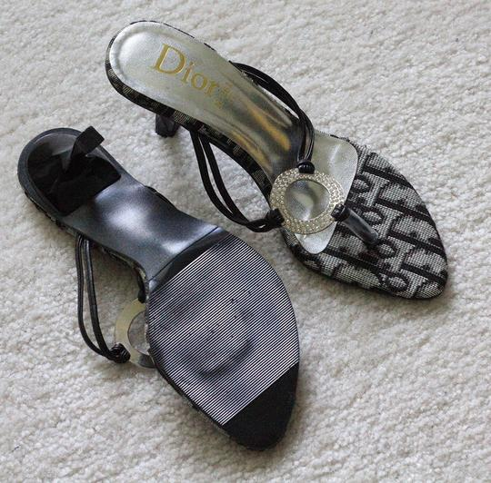 Dior (faux) Party Flip Flop navy and silver embellished Sandals