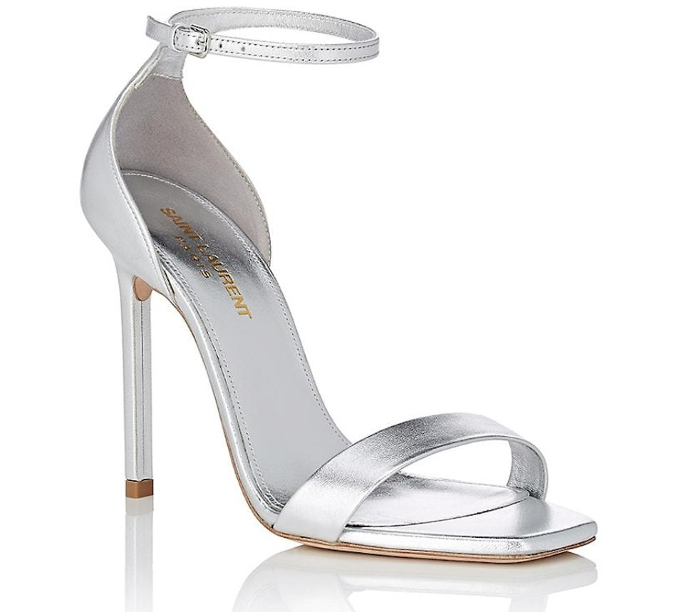 37036801c6b Saint Laurent Stiletto Amber Tribute Ankle Strap Sandal silver Pumps Image  0 ...