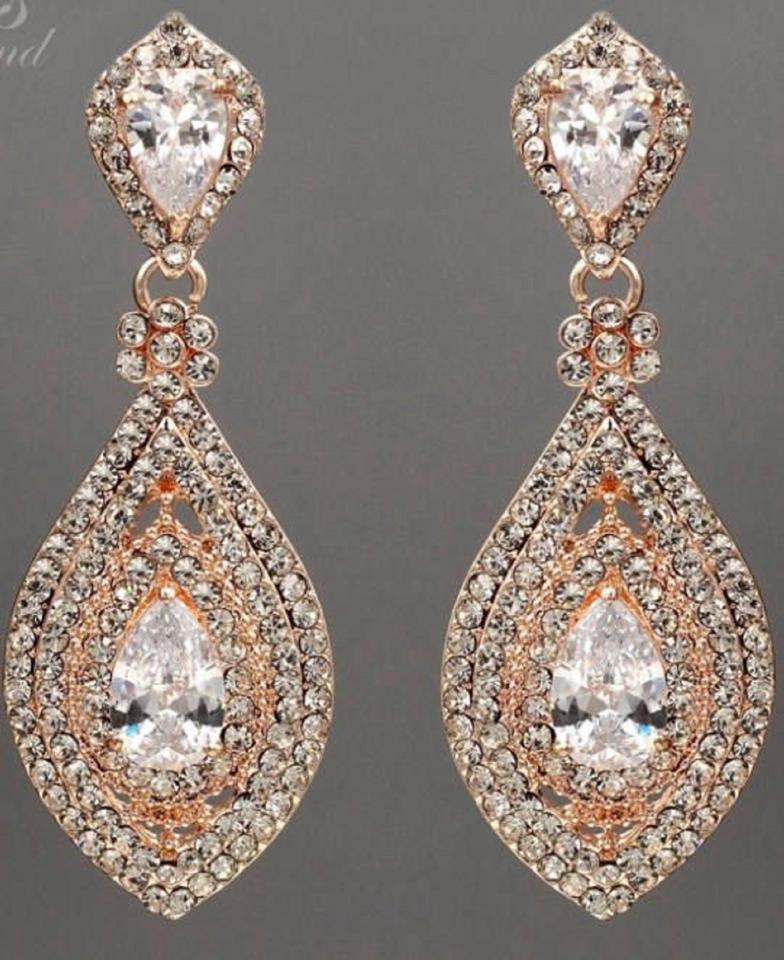 Others Follow Rose Gold Demureby J Crystal Rhinestone Earrings