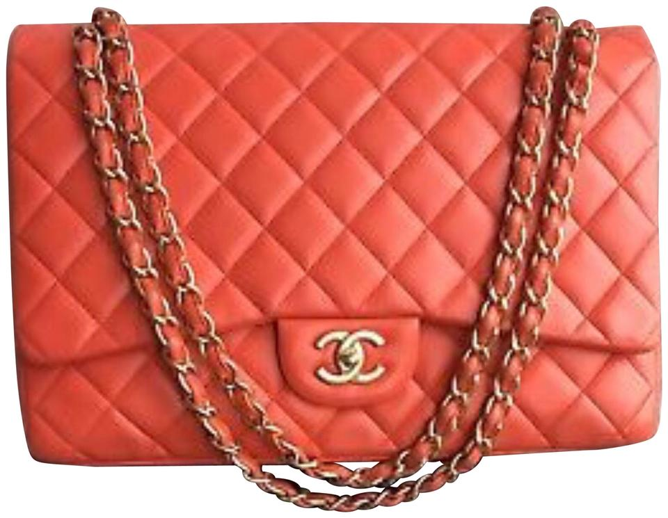 dc42c0ff5dc91c Chanel Classic Flap Red Maxi Single Coral with Matte Gold Hardware ...