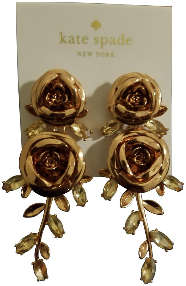f743701237a6b Kate Spade Rose Gold New York Tone Crystal Double Flower Linear Drop ...