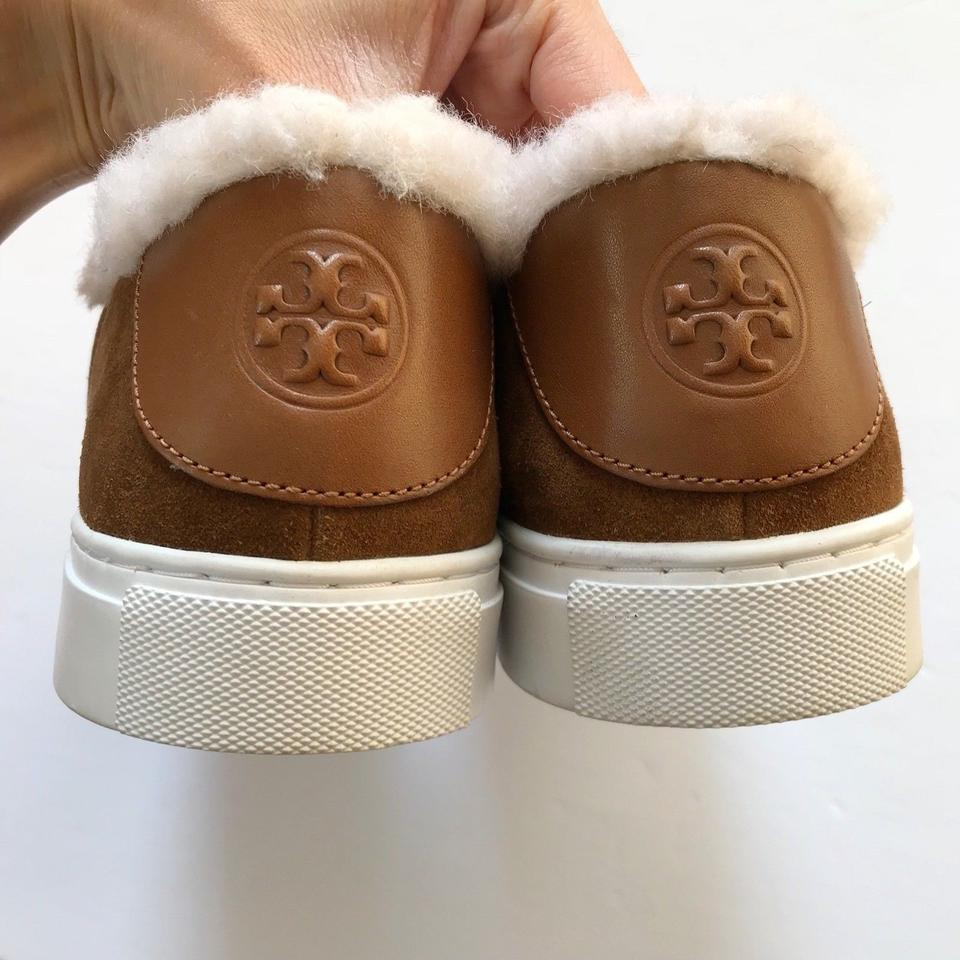a8690fdddf4e34 Tory Burch Brown Miller Genuine Shearling Lined Suede Sneaker Flats ...