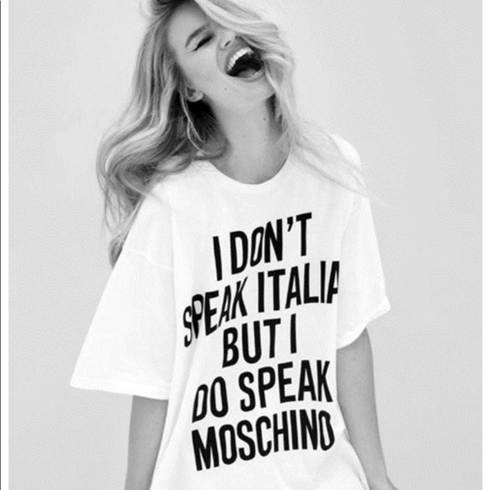 bd1957115b14c Moschino White I Don't Speak Italian' T-shirt Tee Shirt Size 4 (S) - Tradesy