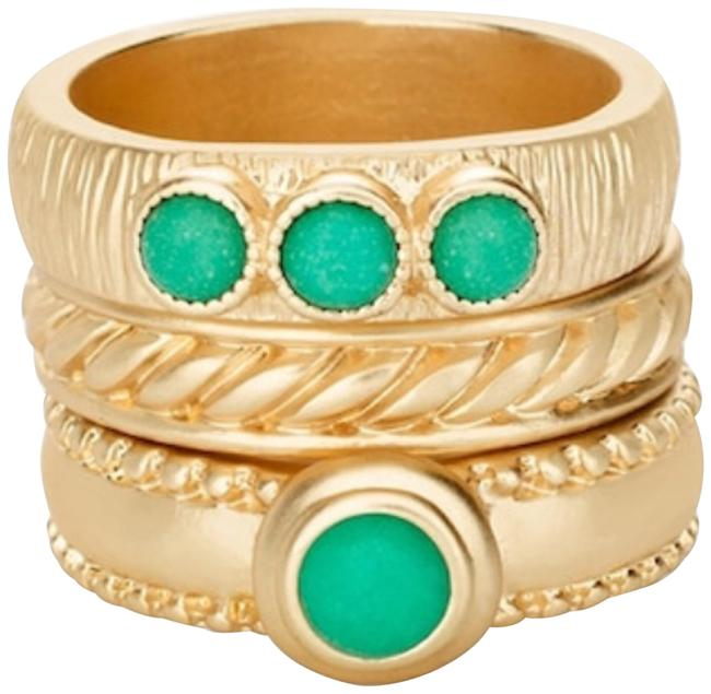 Item - Gold and Green Kelly Set Size 7 Ring