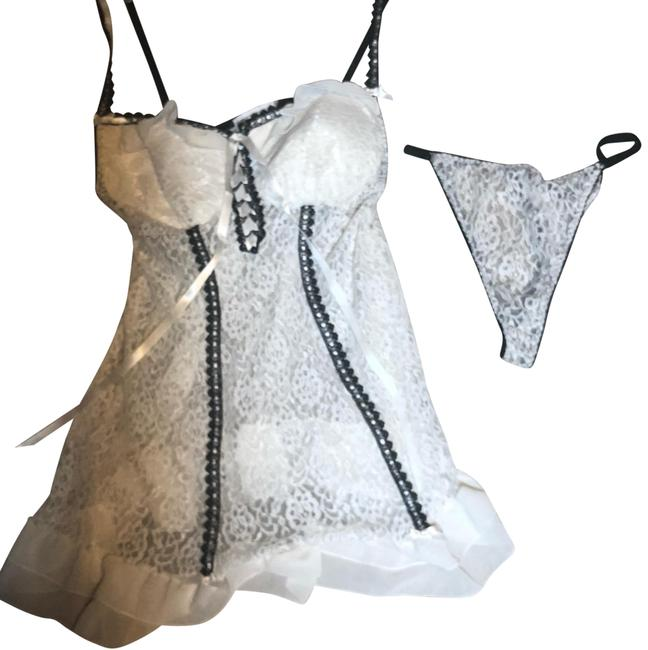 Item - White Black Floral Lace Bridal Sexy Ruffle Babydoll Teddy & Thong Lingerie Set