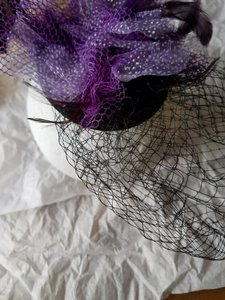 Cära Couture Jewelry Purple and Black Fascinator with Feathers, Ribbon, Netting