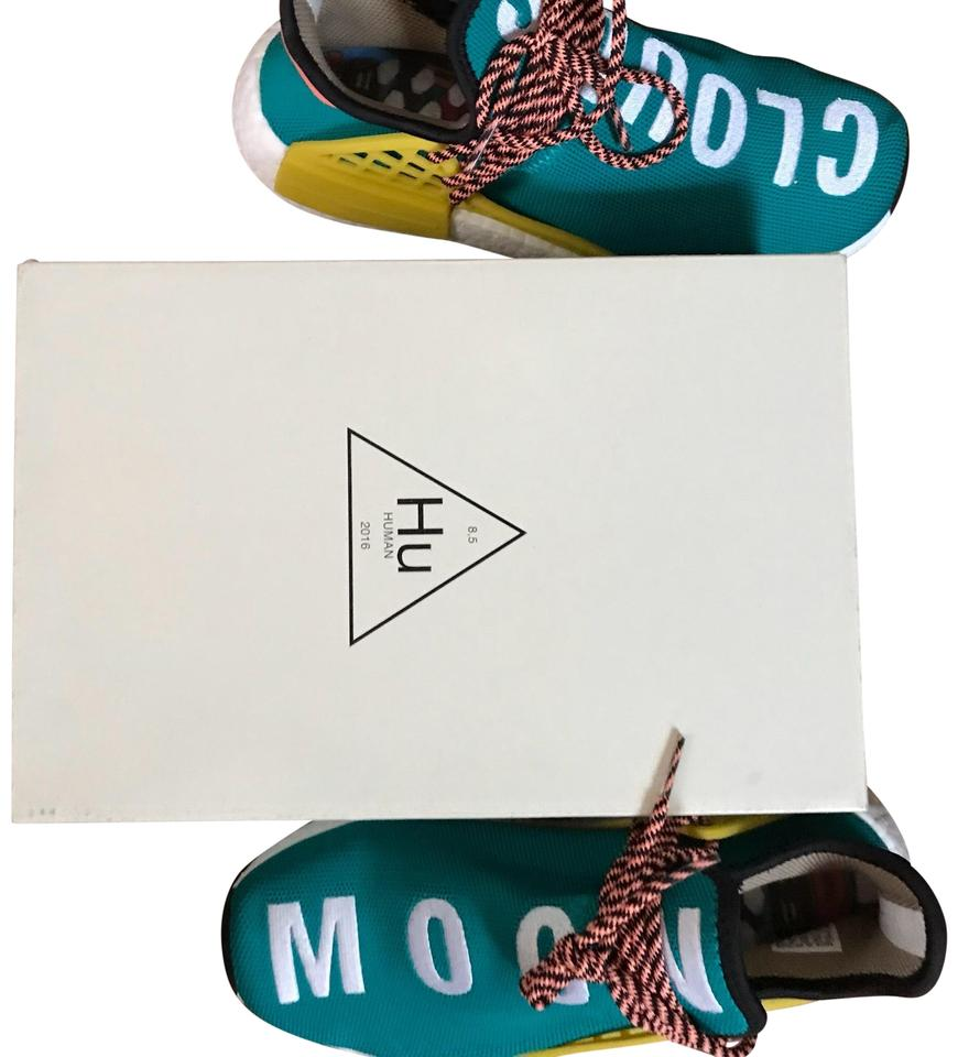 nice cheap on feet images of exclusive shoes adidas Originals = Pharrell Williams Turquoise and Yellow Human Race  Sneakers Size US 7 Wide (C, D)