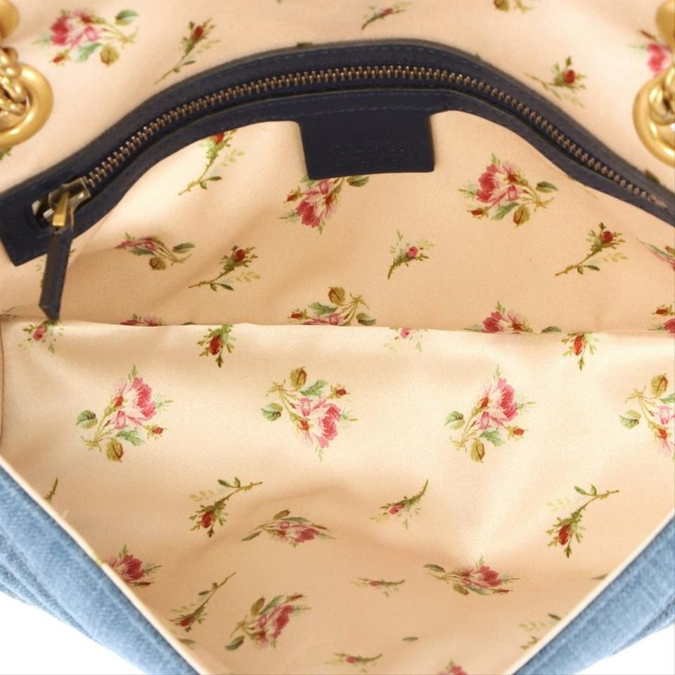 7f5a809ebbfe Gucci Marmont Pearly Gg Flap Matelasse Small Blue Denim Shoulder Bag ...