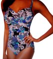 Swim Solutions Garden Lace Surplice Tummy Control One Piece Swimsuit